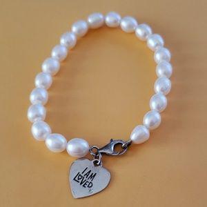 .925 & Genuine Pearl Bracelet